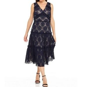 Maggy London Navy Lace Tiered Cocktail Dress 12P